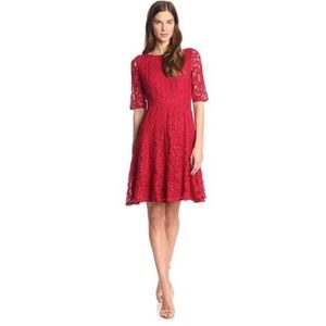 Adrianna Papell Lace Fit & Flare Dress in red